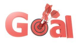 Roter Pfeil- und Zieltext Stockbilder