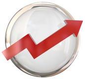 Roter Pfeil-weißer glänzender Knopf Lizenzfreie Stockfotografie