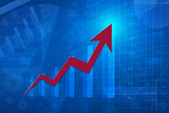 Roter Pfeilkopf mit Finanzdiagramm und Diagramm, Erfolgsgeschäft, Lizenzfreies Stockbild