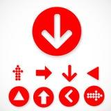 Roter Pfeilzeichen-Ikonensatz Lizenzfreies Stockbild
