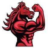 Roter Pferdebodybuilder, der sein muskulöser Körper-Vektor-Maskottchen aufwirft stock abbildung