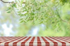 Roter Picknicktisch- und Naturhintergrund Lizenzfreie Stockfotos