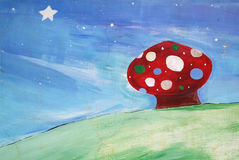 Roter Pilz gemalt Lizenzfreies Stockfoto