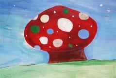 Roter Pilz gemalt Stockbild