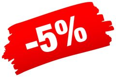 Roter Pinselstrich-Verkauf minus fünf Prozent stock abbildung