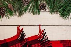 Roter Plaidkegel und -Fichtenzweig auf altem hölzernem Brett Stockfoto