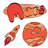 Roter Planet Mars im Raum mit Sternen und Shuttle Hand gezeichnete Abbildung vektor abbildung