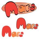 Roter Planet Mars im Raum mit Sternen und Shuttle Hand gezeichnete Abbildung stock abbildung