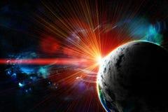 Roter Planet mit einem Blinken der Sonne stock abbildung