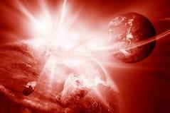 Roter Planet und Leuchte Stockfotos