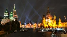Roter Platz belichtet im gold- Kreis des hellen Festivals Lizenzfreie Stockfotografie