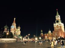Roter Platz nachts stockbild