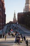 Roter Platz während der Winterurlaube Stockbilder