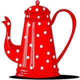 Roter Polka-punktierter Kaffepotentiometer Lizenzfreie Stockfotos