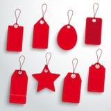 Roter Preis-Aufkleber-Satz Stockbilder