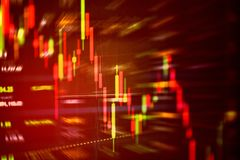 Roter Preissturz der Aktienkrise hinunter Diagrammrückgang stockfoto