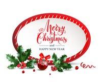 Roter Rahmen der frohen Weihnachten stock abbildung