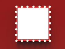 Roter Rahmen mit Glühlampeeinfassung stockfoto