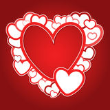 Roter Rahmen von Herzen Stockfoto