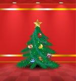Roter Raum mit Weihnachtsbaum Stockfotografie
