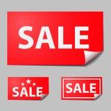 Roter Rechteckaufkleber, Text des Verkaufs Stockfoto