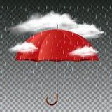 Roter Regenschirm im Regen Stockfoto