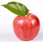 Roter reifer Apple mit Blatt Lizenzfreie Stockfotos