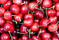 Roter reifer köstlicher Kirschhintergrund Lizenzfreie Stockbilder