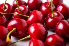 Roter reifer köstlicher Kirschhintergrund Lizenzfreies Stockfoto