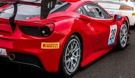 Roter Rennwagen GT3 Ferraris 488 stockfoto