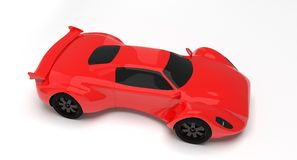 Roter Rennwagen lokalisiert Stockfotografie