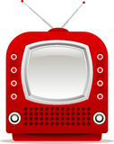 Roter Retro- Fernsehapparat Stockfotografie