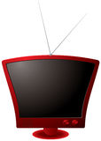 Roter Retro- Fernsehapparat Stockfotos