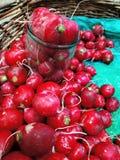 roter Rettich in einem aus Weiden geflochtenen hölzernen Korb und in einem Glasgefäß auf einem Grün lizenzfreie stockfotografie