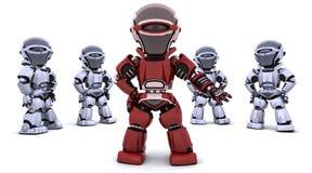 Roter Roboter, der ein Team führt stock abbildung