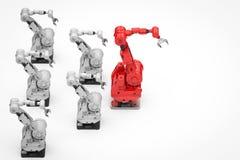 Roter Roboterarm als Führer vektor abbildung