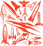 Roter Rocket Collection Lizenzfreie Stockbilder