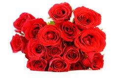 Roter Roseblumenstrauß auf weißem Hintergrund Lizenzfreie Stockfotografie