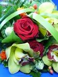 Roter Rosen-Blumenstrauß Stockbilder