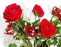 Roter Rosen-und des Schätzchens Atem-Blumenstrauß Stockfoto