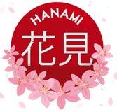 Roter runder Aufkleber mit Cherry Flower und den Blumenblättern für Hanami, Vektor-Illustration stock abbildung