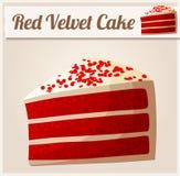 Roter Samt-Kuchen Ausführliche Vektor-Ikone Lizenzfreie Stockfotos
