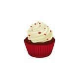 Roter Samtkleiner kuchen verziert mit roten Herzen Stockfoto