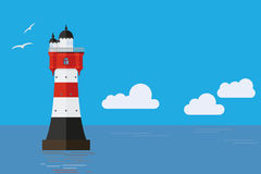Roter Sand lighthouse flat design illustration Stock Photography