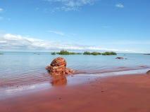 Roter sandiger Strand Stockfotografie