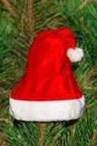 Roter Santa Claus-Hut auf Tannenzweig im Winter parken draußen Lizenzfreie Stockfotos
