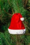 Roter Santa Claus-Hut auf Tannenzweig im Winter parken draußen Lizenzfreie Stockbilder