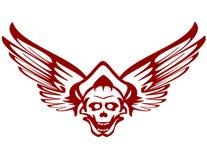 roter Schädel mit Flügeln Stockfotos
