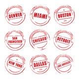 Roter Schmutzstempel, amerikanische Städte Denver, Miami, Boston, Stockbilder