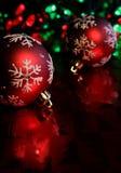 Roter Schneeflocke-Flitter Stockfoto